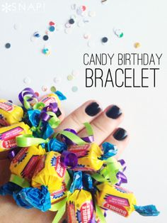 Candy-Birthday-Bracelet -- easy, cute, and inexpensive party favors. I think bigger girls would enjoy making them at the party themselves!