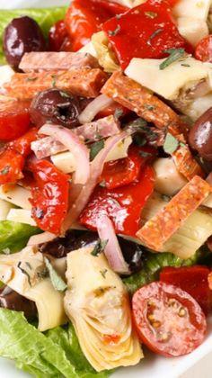 Antipasto Salad with Red Wine Vinaigrette. Use dressing from epicurious antipasto recipe. Healthy Salads, Healthy Eating, Healthy Recipes, Think Food, I Love Food, Italian Dishes, Italian Recipes, Red Wine Vinaigrette, Summer Salads