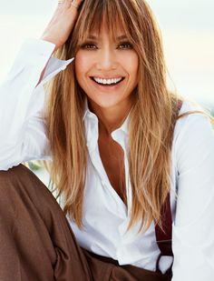Jennifer Lopez layered bangs
