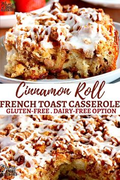 gluten free recipes An easy gluten-free breakfast casserole with your favorite flavors from cinnamon rolls and french toast! This Cinnamon Roll French Toast Casserole can be made the same day or overnight. The recipe also has a dairy-free option. Gluten Free Breakfast Casserole, Gluten Free Recipes For Breakfast, Gluten Free Sweets, Gluten Free Baking, Dairy Free Recipes, Gluten Free Cinnamon Rolls, Gluten Free Dinners, Diet Recipes, Dairy Free Bread Pudding Recipe