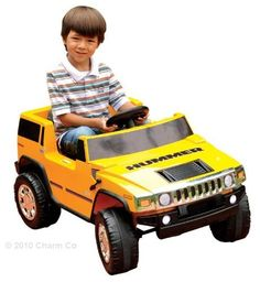 Yellow 6V Hummer H2 Kids Ride on Toy by Charm Company. $162.00. 6 volt battery powered.   Rechargeable battery included.. For kids 2-5. Kids ride on H2 Hummer. Looks just like a real Hummer.  Kids ride on H2 goes about 2.5 mph.  Runs with the electric foot pedal just like all other Power Wheels Cars