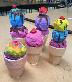 Paper Mache Ice Cream Cones. Mache covered aluminum foil balls sitting on a terra cotta pot from Michaels. Easy, simple and fun mache project for kids of all ages. #papermache