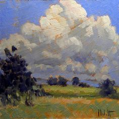 Heidi Malott Original Paintings: Impressionist Clouds Summer Fall Landscape Daily Oil Painting Heidi Malott