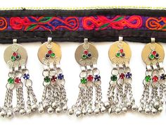 Pakistani Afghani Kuchi Choker Necklace #10 with Coins for ATS® Tribal Style Belly Dance   Vintage Kuchi choker necklace #10 with purple cotton front with orange, red and fuchsia filled with blue, fu