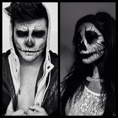 DIY Halloween makeup skull - this is quite simple and totally doable! www.facebook.com/alexfactionmakeup