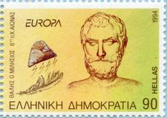 Thales O Milisios. Postage stamp printed in Greece, circa 1994 Simple Minds, Stamp Printing, Stamp Collecting, Ancient Greece, Postage Stamps, Nerdy, Greek, Andorra, Physicist