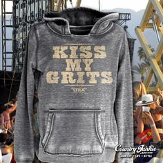 Kiss My Grits Hoodie S-XXL Country Junkie hoodies from Cowgirl Blondie's Western Boutique will be your favorite cool weather gear.