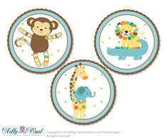 Boy Jungle  Candy Kisses circles Printable for Baby BoyShower DIY King Lion , Safari - aa31bs20