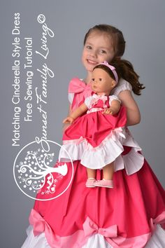 matching doll and girl Cinderella dresses, free sewing tutorials