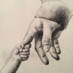 Father and Daughter Pencil on paper 6.5 x 10