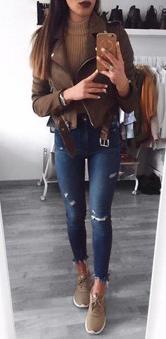 #winter #outfits brown zip-up jacket and blue fitted jeans
