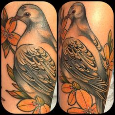 So many birds this week! Mourning dove for Carmen's forearm tonight. Thank you for always sitting so well! We're super close to finishing her entire arm of birds and flowers. Soooooo soon. Stay tuned. #jasminewrightisyourfriend #blackclawneedle #oldgoldsmallbatch
