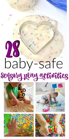 28 Baby-Safe and Toddler Approved Sensory Play Activities – Mama Instincts® Try these fun and educational sensory play activities with your baby and toddler. Most are taste-safe, very entertaining and fun enough for the older kids to join in the fun. Baby Sensory Play, Baby Play, Sensory Art, Sensory For Babies, Fun Baby, Baby Messy Play Ideas, Baby Sensory Bags, Toddler Sensory Bins, Sensory Games