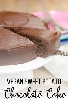 Vegan Sweet Potato Chocolate Cake takes the cake! This dense, chocolatey cake and frosting are both made with sweet potato - yes! Vegan Baking Recipes, Healthy Vegan Desserts, Vegan Dessert Recipes, Vegan Sweets, Vegan Snacks, Vegan Meals, Real Food Recipes, Delicious Desserts, Healthy Snacks