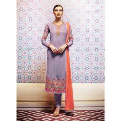 Lavender Georgette Designer #Churidar Kameez With Dupatta- $45.72