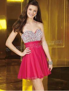 Chiffon Sweetheart Beaded Bodice A-line Cocktail Dress