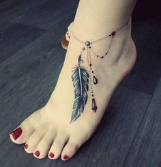 Anklet Tattoos For Women, Classy Tattoos For Women, Cute Ankle Tattoos, Tattoos For Women Flowers, Foot Tattoos For Women, Feather Tattoos, Body Art Tattoos, Hand Tattoos, Girl Tattoos