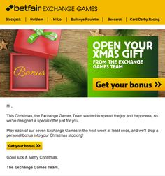 Betfair personalized this holiday email by displaying different £ amounts in the gift box (e.g., £5, £10, £20, £25, £50) depending on the recipient. #emailmarketing #personalization #holidayemail