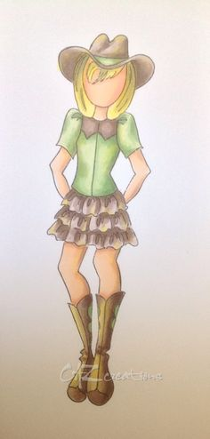 "Julie Nutting Prima Doll ""BECKY""               Caz #4 ... coloured with Copic markers"