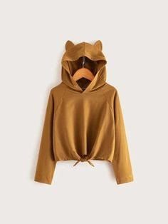 Fuzzy Pullover, Spandex Material, Hoodies, Sweatshirts, Types Of Sleeves, Cotton Fabric, Long Sleeve, Knot, Ear