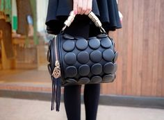 Copious: ALEXANDER MCQUEEN INSPIRED Leather Black button Shoulder Bag