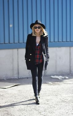 b5b452de4252 Outfit - Black Tank Top - Dark Red Flannel - Black Peacoat - Dark Blue  Jeans - Black Boots - White Scarf or White Infinity Scarf