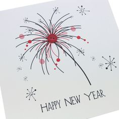 Handmade Christmas New Year card red black sparkle firework button - 'Happy New Year'