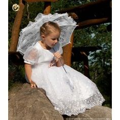 Handmade White Lace Communion/Flower Girl Parasol Happy Hannah Long