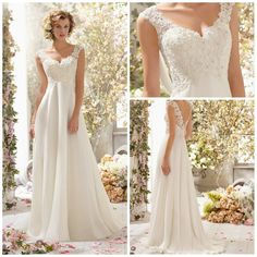 V Neck A Line Wedding Dress Chiffon With Beads by EllePromDress, $126.90