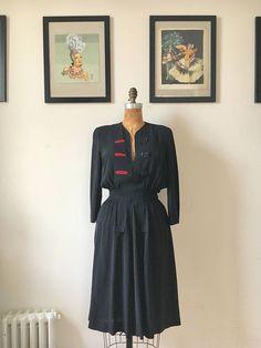 1940s Jet Black Rayon Split Peplum Dress w/ Smocked Waist Red