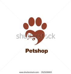 Paw logo template, animal day care and pet shop - stock vector