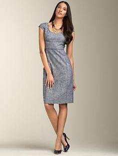 blue chambrey dress