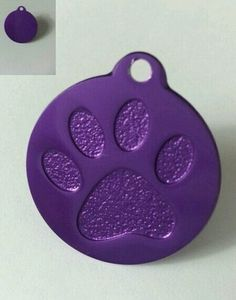 Personalized Large Purple Paw Print Dog Tag Free Engraving | eBay