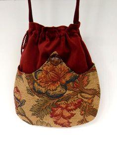 Rust Velvet Pocket Bag  Boho Bag  Tapestry ❤ by piperscrossing, $40.00
