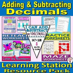 Adding and Subtracting Decimals - Learning Station BUNDLE | TpT Learning Stations, Math Stations, Math Centers, Adding Decimals, Adding And Subtracting, Math Teacher, Teacher Resources, One Step Equations, Scientific Notation