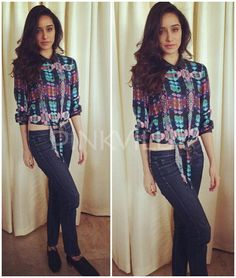 Shraddha Kapoor Shivangi Sahni blouse with denims and Zara oxfords.