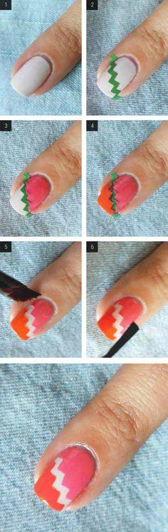 fingernagel design selbermachen zick-zack muster