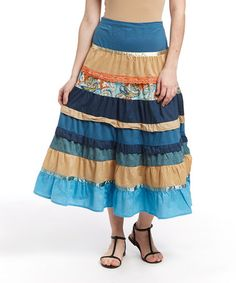 Look what I found on #zulily! Blue Stripe Peasant Skirt by Overdrive #zulilyfinds