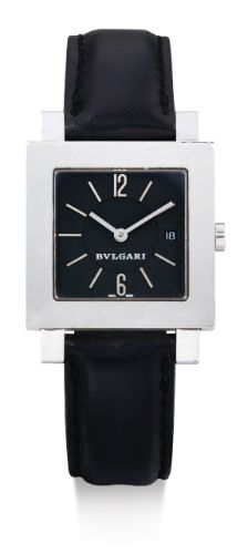 Bulgari  A STAINLESS STEEL SQUARE WRISTWATCH WITH DATE CIRCA 2000  • quartz movement • black dial, applied Arabic numerals and baton indexes, aperture for date • stainless steel square case, case back secured by 8 screws • case, dial and movement signed • with a stainless steel Bulgari buckle