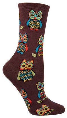 Brown colorful owl Crew length socks Hoo! The latest addition for your owl collection.  These are available in Purple, Green, or Chestnut and fit a women's shoe size 5-10.