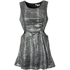Glamorous Cutout Metallic Dress ($18) ❤ liked on Polyvore featuring dresses, silver, sukienki, high neck cutout dress, metallic cocktail dress, cut out dresses, iridescent dress and high neckline dress