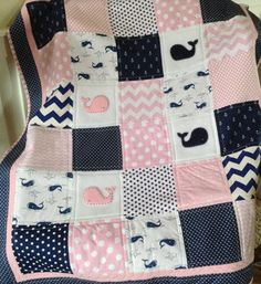 Baby Whale Quilt in pink navy and white by Lovesewnseams on Etsy