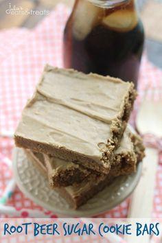 Root Beer Sugar Cookie Bars ~ Soft, Chewy Sugar Cookie Bars that Taste Like a Root Beer Barrel!