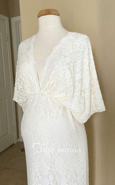 c58ec9fb1 Bohemian V-neck Bat Sleeve Lace Maternity Wedding Dress Maternity Wedding,  Pregnant Wedding Dress