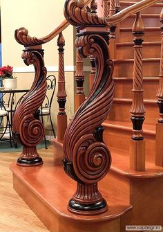 New Wooden Stairs Diy Interior Design Ideas Wood Railings For Stairs, Stair Railing Design, Stair Handrail, Banisters, Railing Ideas, Deco Cool, House Entrance, Entrance Ideas, Into The Woods