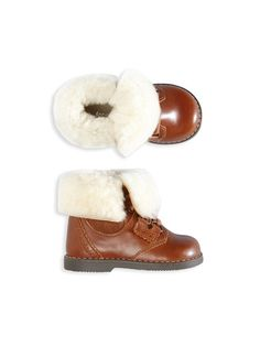 Chapka Shearling-Trimmed Booties by Jacadi at Gilt
