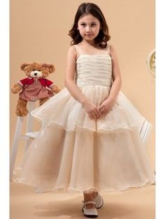 Tulle Straps Tea-Length A-line Flower Girl Dress with Bow