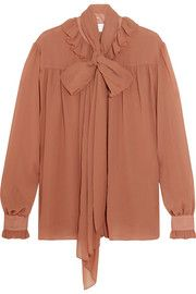 See by Chloé - Pussy-bow chiffon blouse Evening Wear Tops, Evening Gowns, Midi Dresses Uk, Couture Dresses, Party Wear Indian Dresses, See By Chloé, Saree Gown, Rose Shirts, Loose Fit Jeans