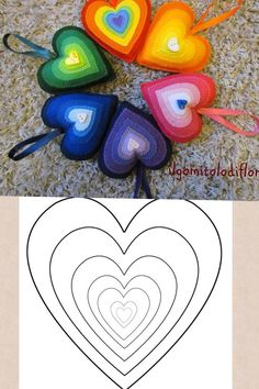 felt ornaments ... hearts in bright colors ... luv the pyramid effect with concentric layers of smaller and smaller hearts ...
