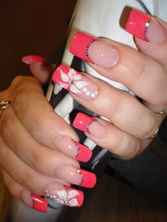 Pink French mani with white flowers and tinsels :: one1lady.com :: #nail #nails #nailart #manicure